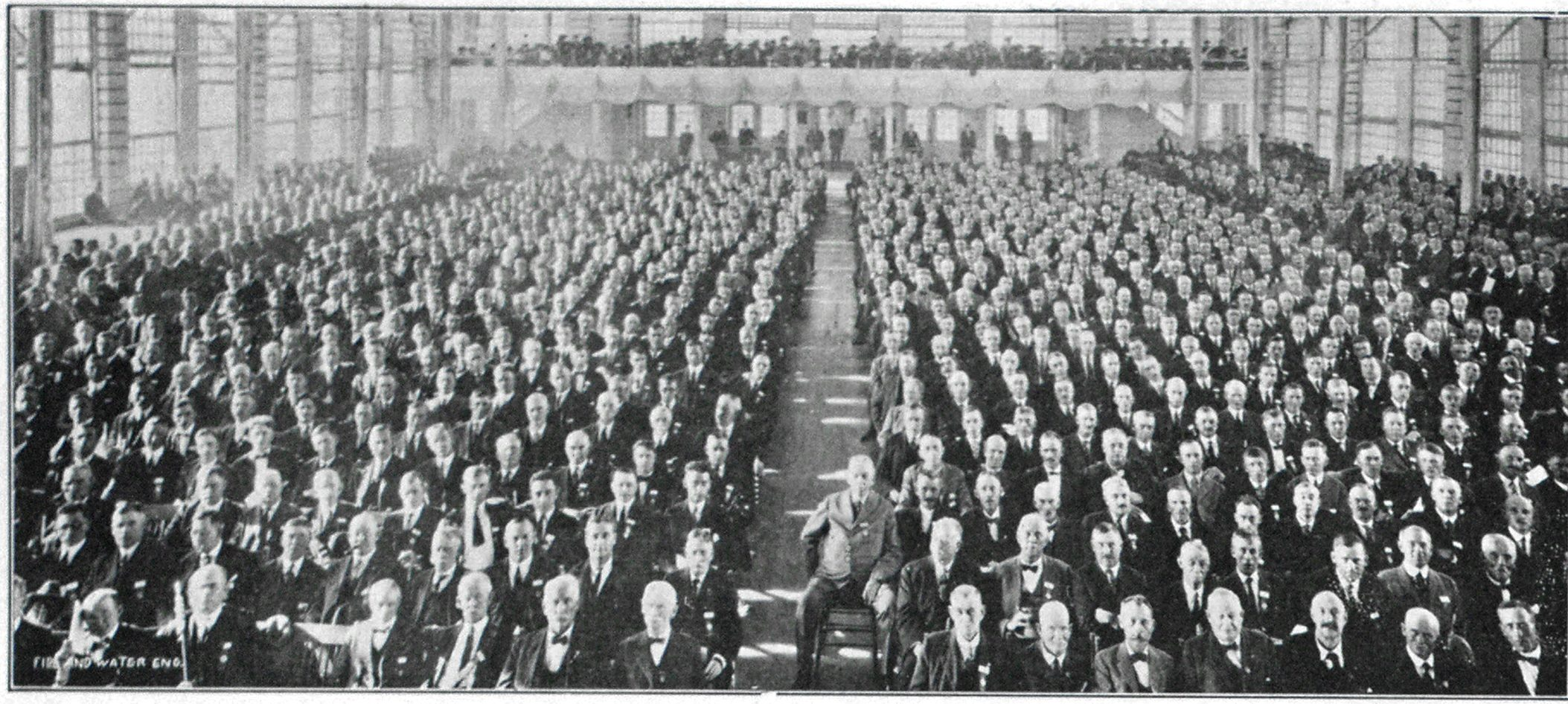 Delegates to the New Jersey State Firemen's Convention in Session at Atlantic City. Seated in Center Aisle is Gen. Bird W. Spencer, Who Was Re-elected President for the Forty-fifth Consecutive Year.