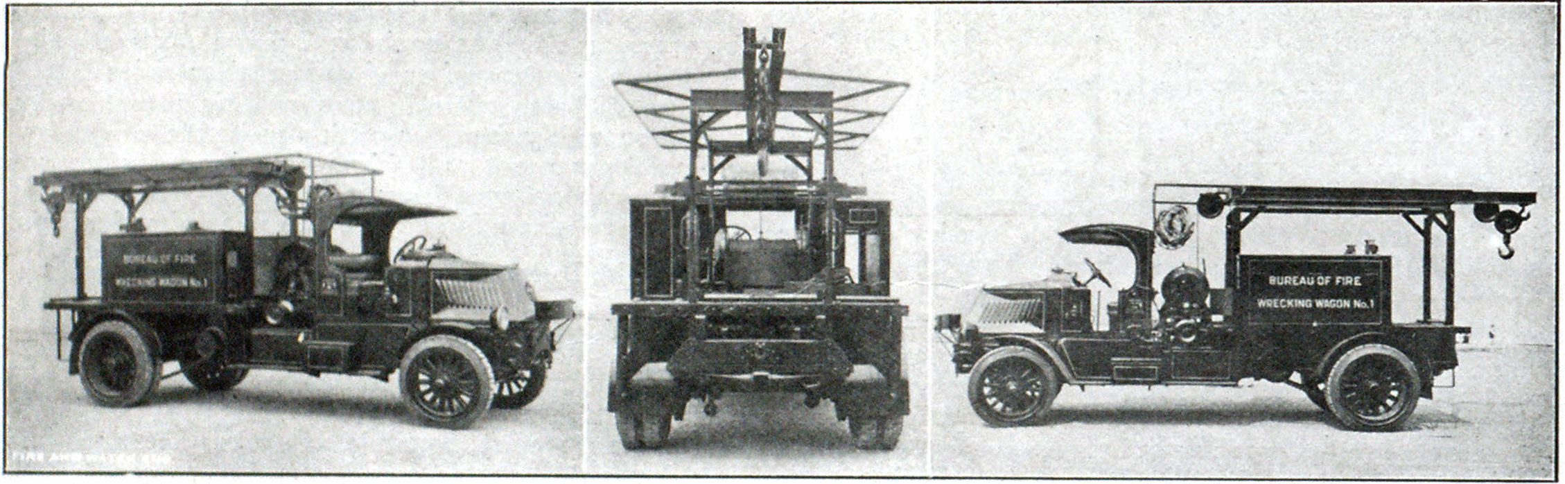 Three Views of Wrecker Truck in Use by the Bureau of Fire of Philadelphia, Pa.