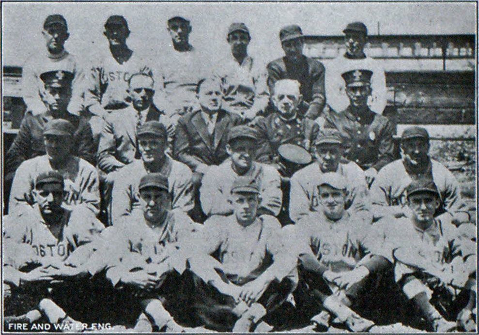 Boston Fire Department Baseball Team. Fire Commissioner Glynn and Chief Taber Are Seated in Second Row from Top