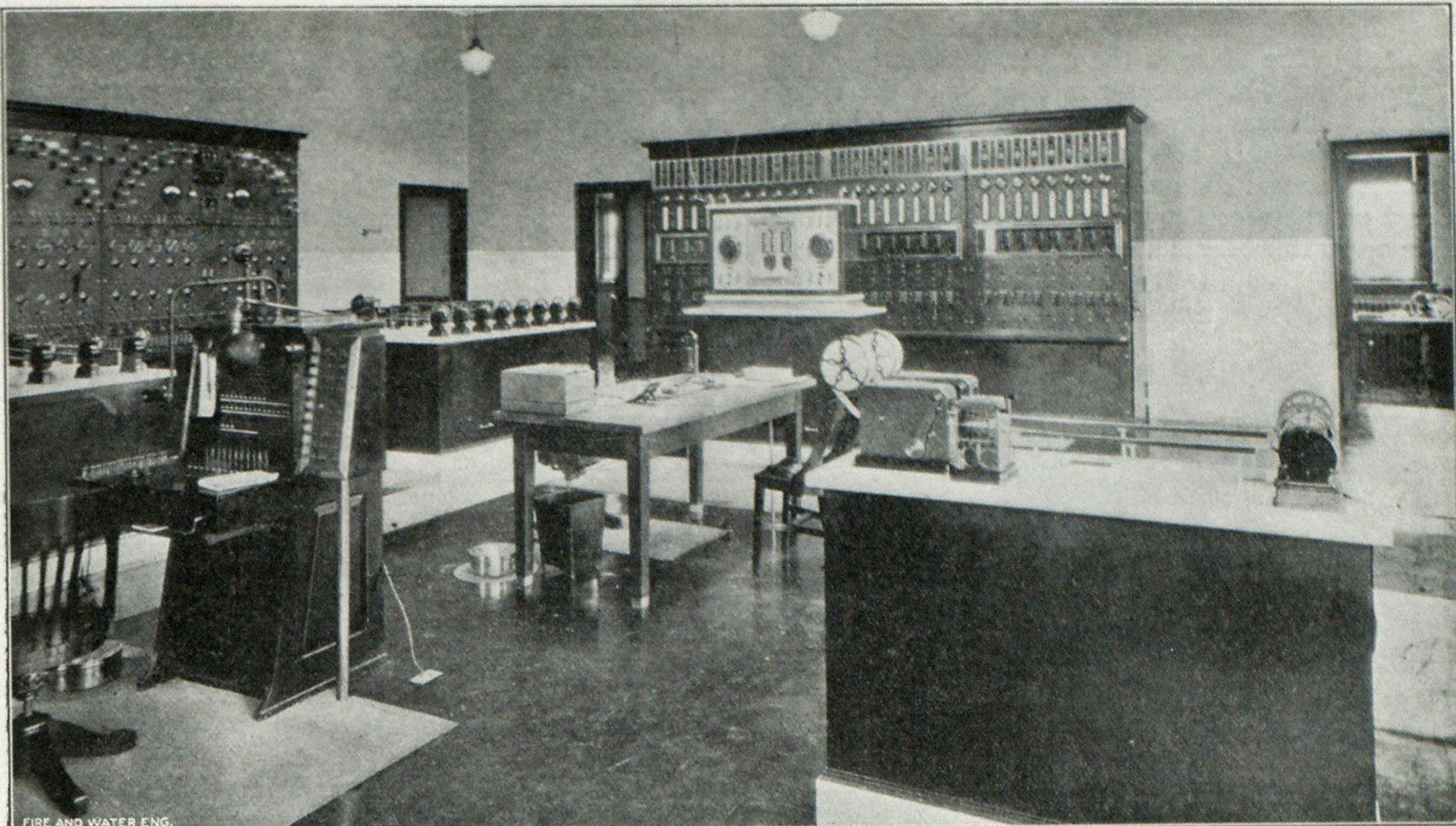 Section of Apparatus Room, Fall River, Mass., Fire Alarm System, Showing Box Line and Storage Battery Boards and Recording Outfits. In Foreground at Right of Telephone Switchboard Is Traffic Signal Control