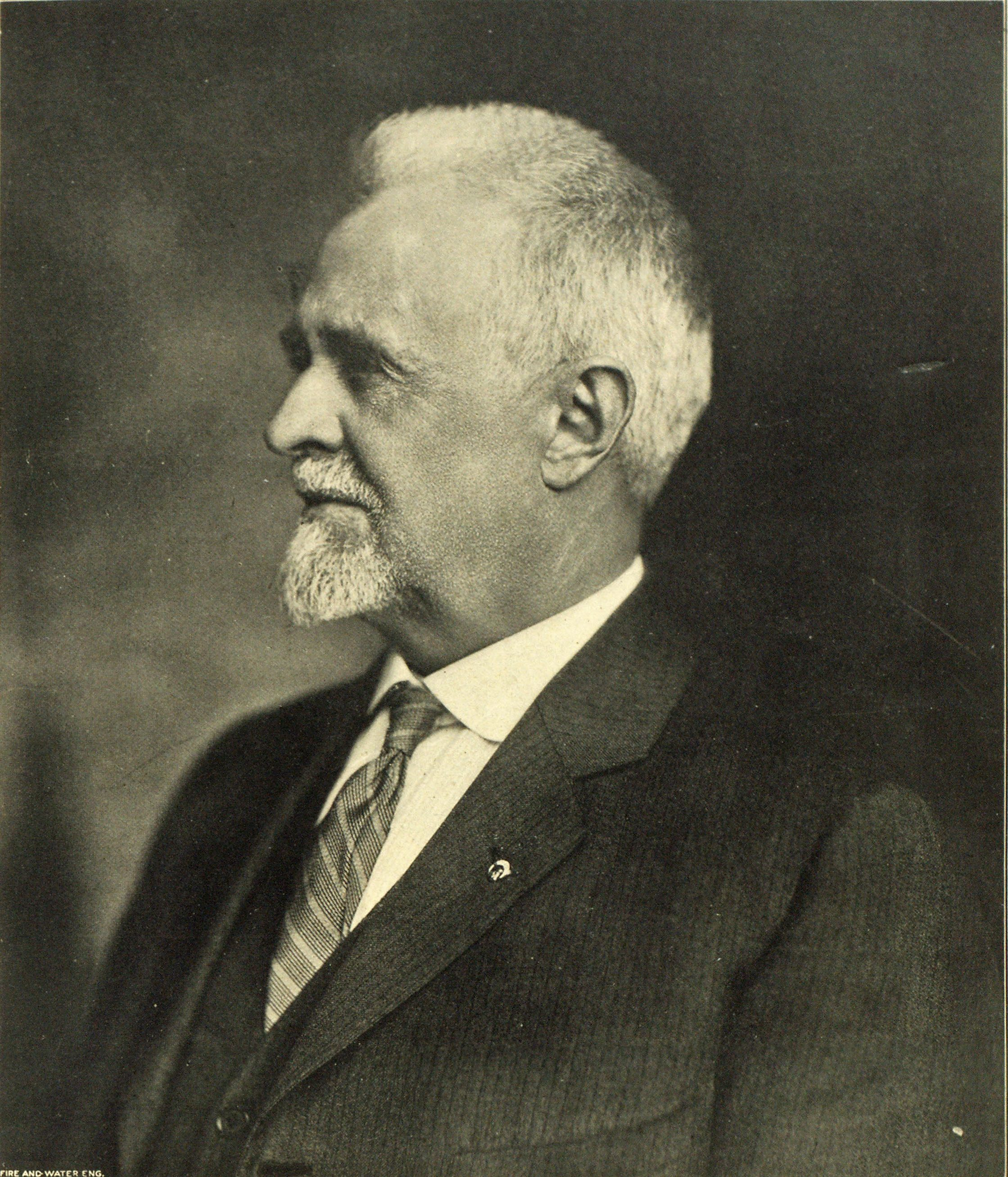 JOHN M. DIVEN Who Has Served the American Water Works Association for Twenty-Four Years, in the following capacities: President, 1891-92; Secretary and Treasurer, 1902-12; Secretary and Editor, 1913-16; Secretary, 1917-24, and Secretary Emeritus, 1924. A Banquet in His Honor Will Be One of the Features of The American Water Works Convention.