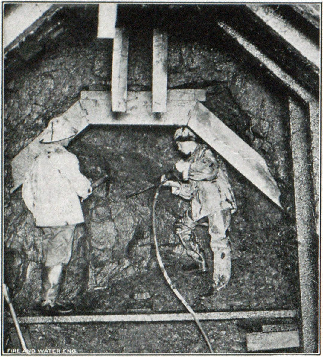 Steel Drill in Operation Under Hill at Shepaug River Valley Near Litchfield, Conn. Photograph Was Taken at Distance of One and One-Fifth Miles Within Tunnel