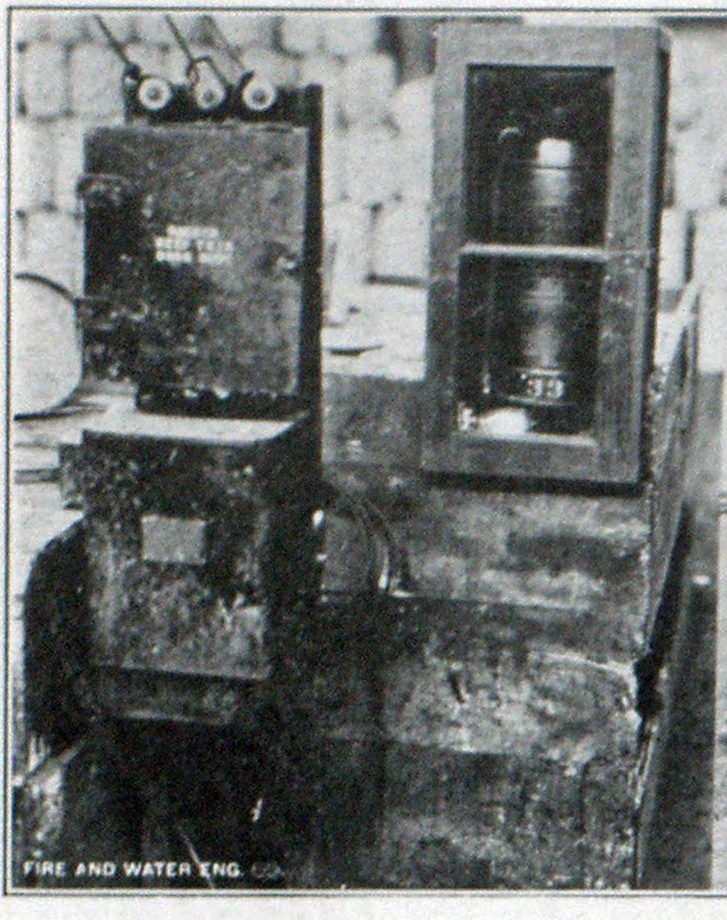 Soda and Acid Extinguisher in Asbestos Lined Box Heated with Electric Bulb in Order to Protect During Cold Weather.