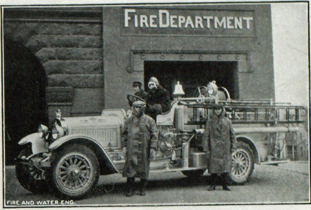 Triple Combination Car of Crookston, Minn., Fire Department Which Made Record Run to Assistance of Bemidji Chief J. W. Risch on Seat with Driver