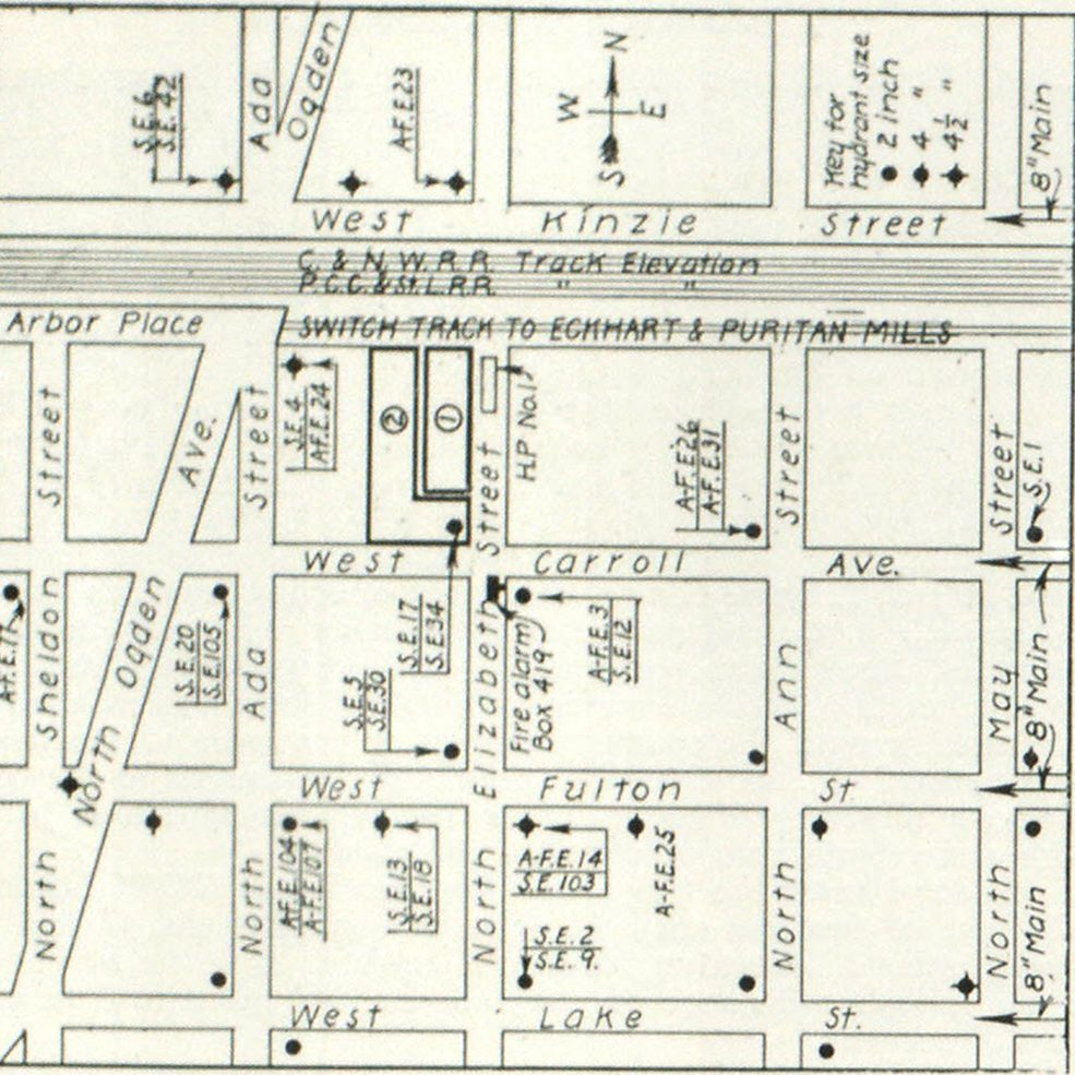 Chart Showing Lay-Out and Method of Fighting Fire in Puritan Mills Be hiding. No. 1 shows Puritan Mills Building; No. 2, the Eckhart Mill. Space south of Puritan Mill is 18 in width, that west of Puritan Mill, three feet wide. In abbreviations of engine companies, A-F stands for Ahrens-Fox apparatus, and S for Seagrave. Courtesy of Battalion Fire Marshal Thomas F. Maher, Chicago.