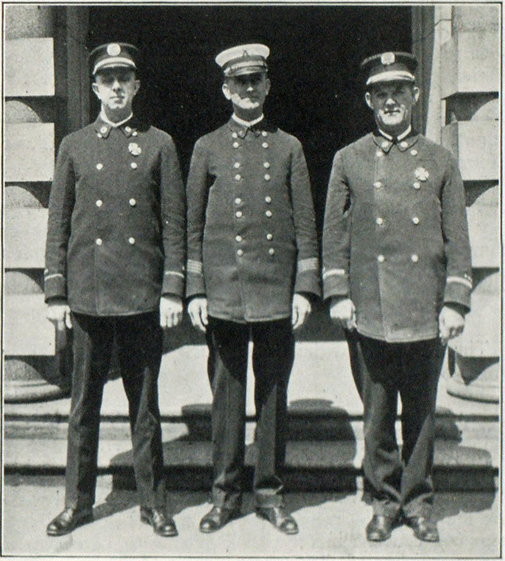 Captain A. L. Sherk, Battalion Chief Flarry Johnson, and Captain Bert Faber, Committee on Hotels