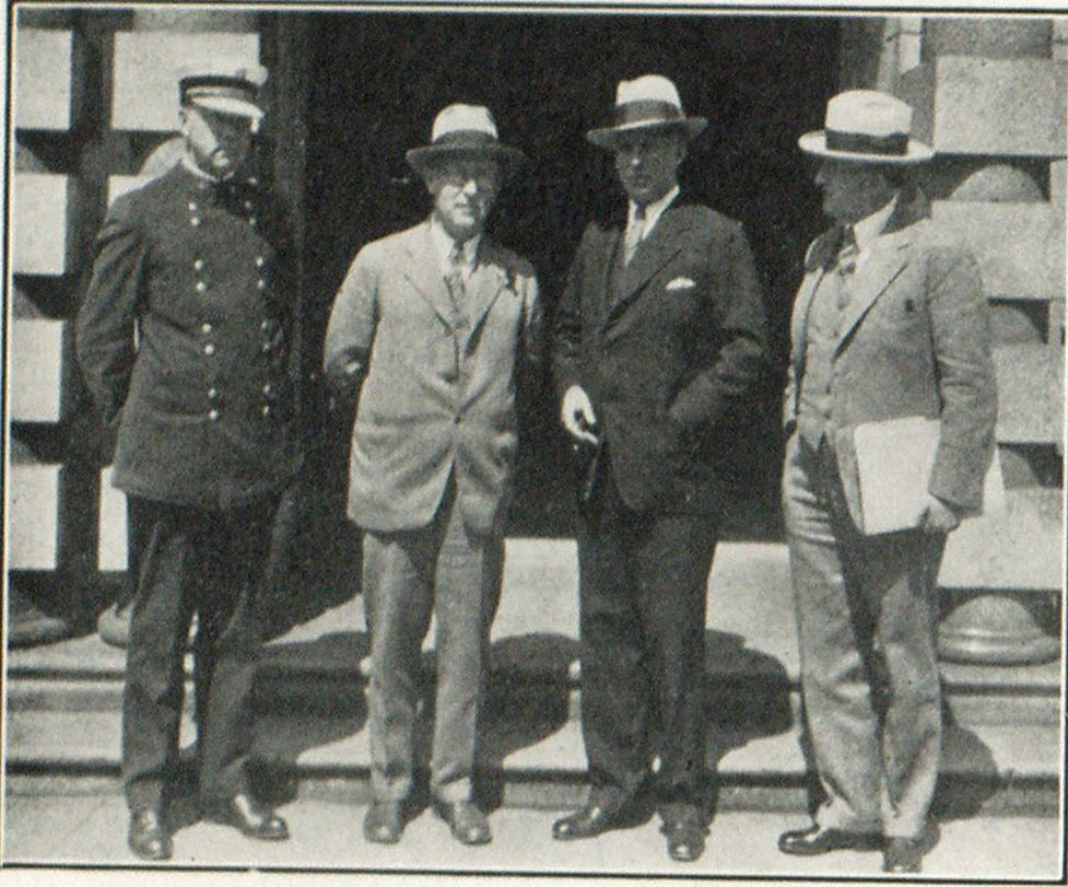 Left to Right: Fire Marshal Edward Grenfell, Chairman Banquet Committee; City Commissioner C. A. Bigelow; Ira F. Powers, Chairman Finance Committee; Judge Jacob Kanzler, General Chairman Combined Convention Executive Committee