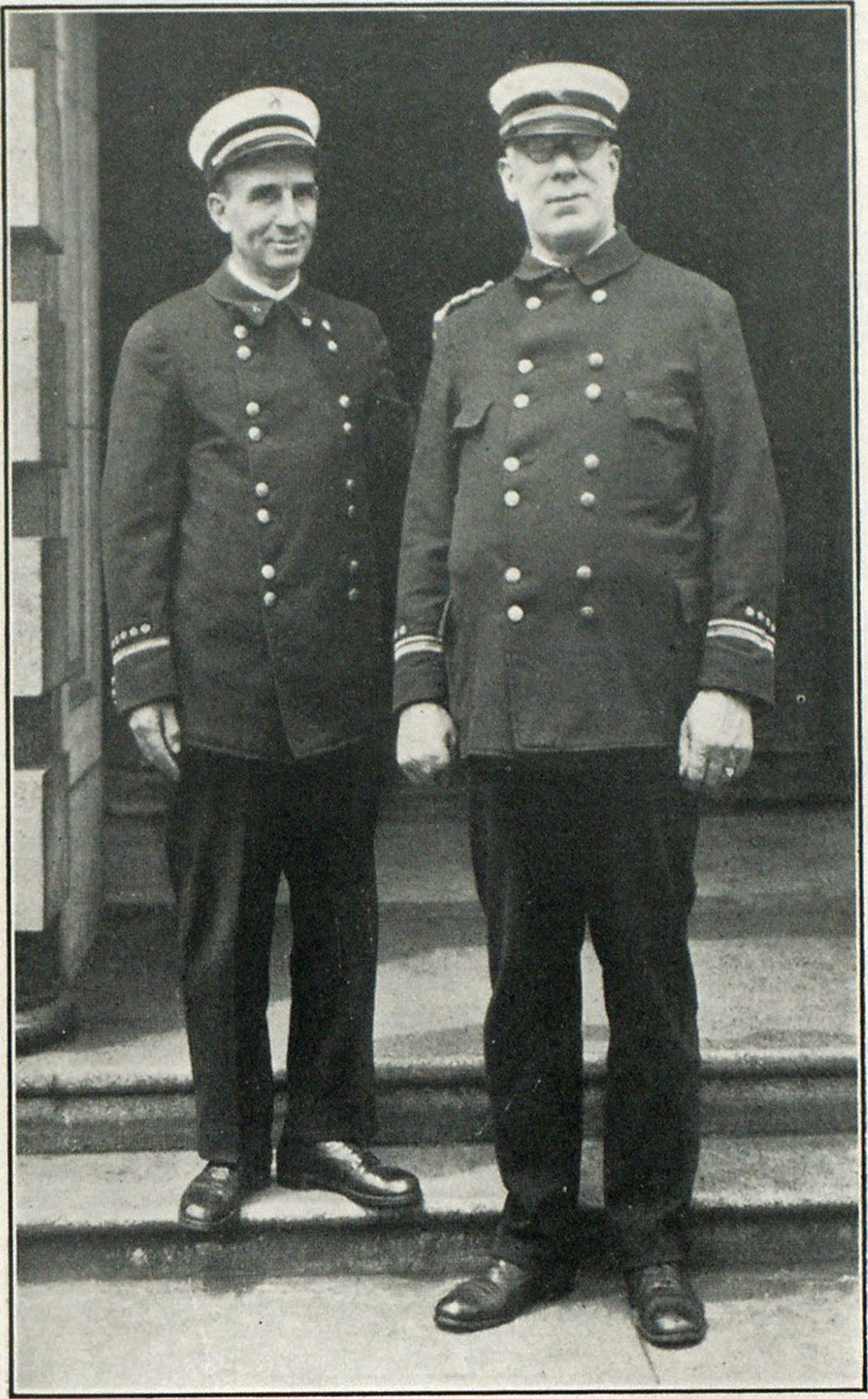 Battalion Chief Fred. W. Roberts and Fire Alarm Superintendent C. A. Savariau, Committee on Arrangements for the Famous Mt. Hood Loop Trip, and Columbia River Highway Trip