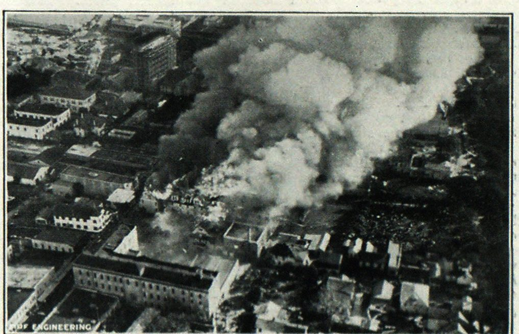 Bird's Eye View of the District About the Magnolia Hotel Taken During the Fire.
