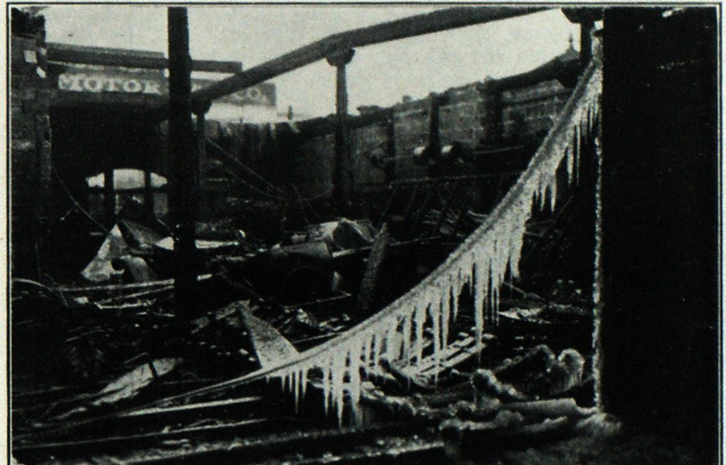 Two Views Showing Complete Destruction Wrought by Fire in Pittsburgh Auto Spring Company and Reo Service Company Plants at Pittsburgh, Pa.
