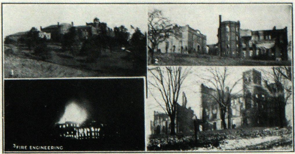 View of the Damage at the Randolph Macon Academy 1—The picturesque buildings and grounds of the academy at Front Royal, Va. 3—Fire photographed from its own light in the early morning. 2 and 4—Scenes of the ruins after the fire burned itself out.