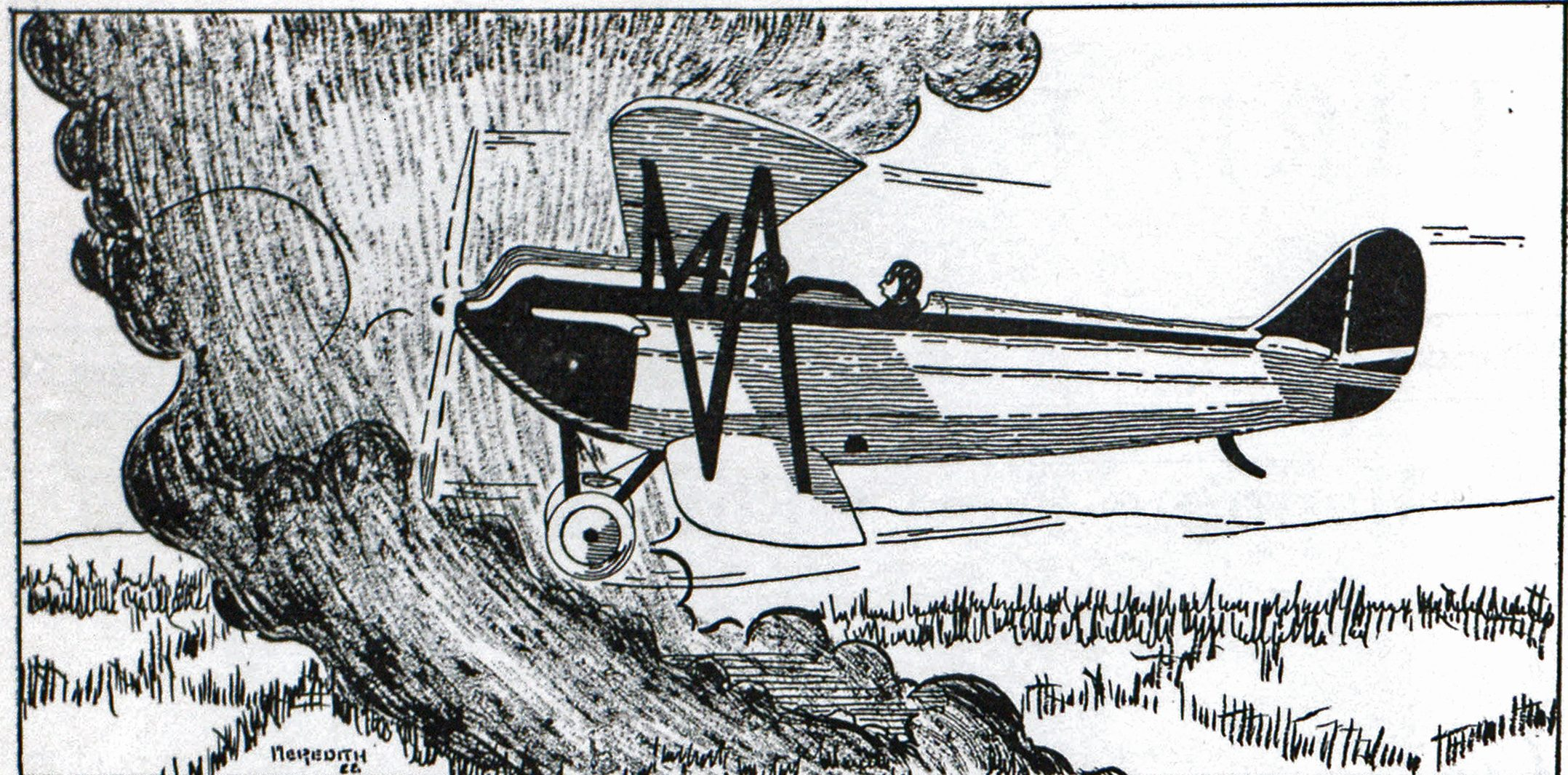 Sketch Showing Airplane Making Survey of Forest Fire, with Assistant Fire Warden and Pilot on Board