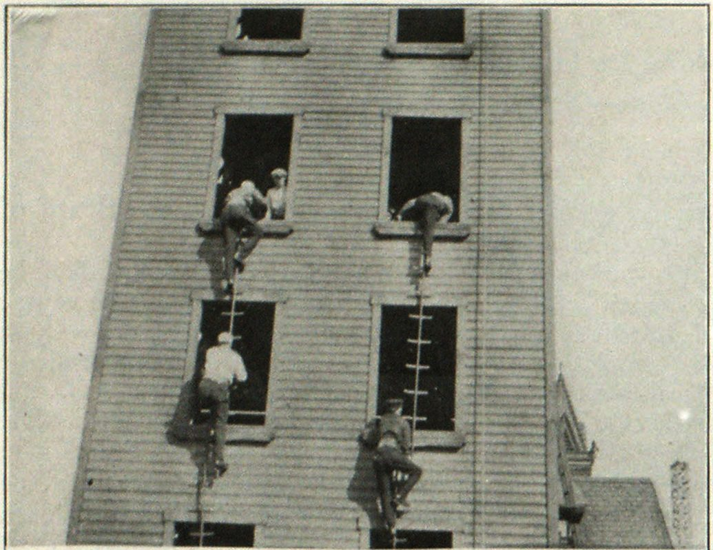 Scaling-Ladder Drill, Pittsburgh Firemen's Training School.