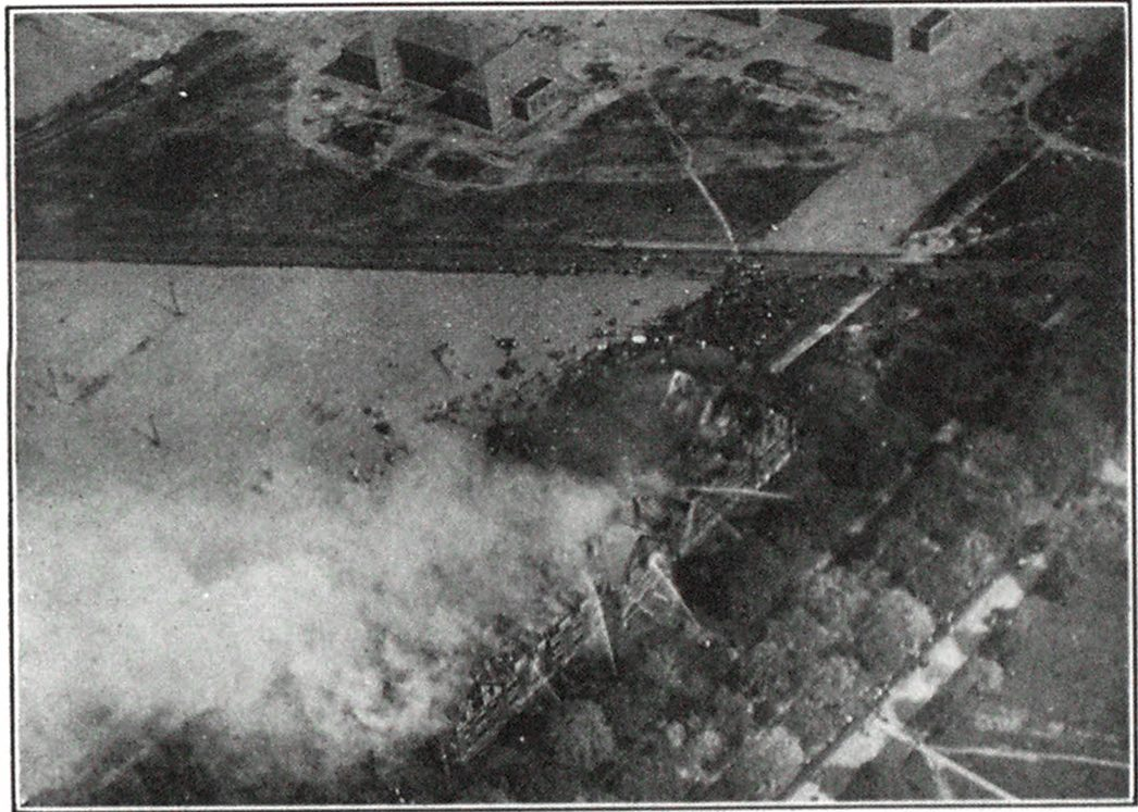 Air View of the Large Hospital Dormitory on Fire at Islip