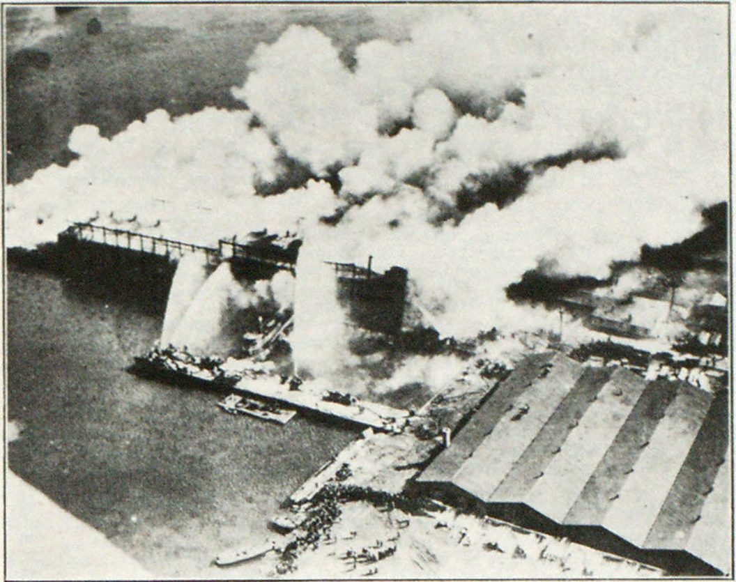 Aerial View of Fire in State Pier No. 1
