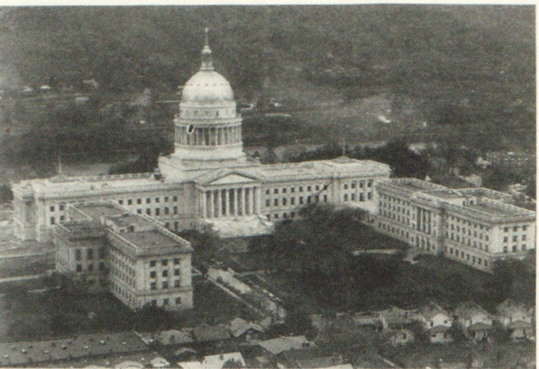 an airplane view of the new state capitol. The old one burned down some time ago.