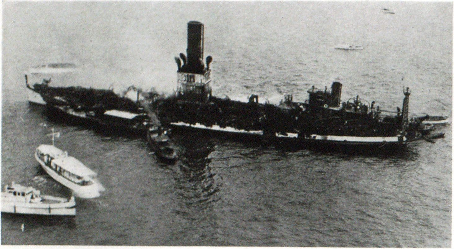The Hull of The City of Baltimore After Fire Had Burnt Away Its Three Decks