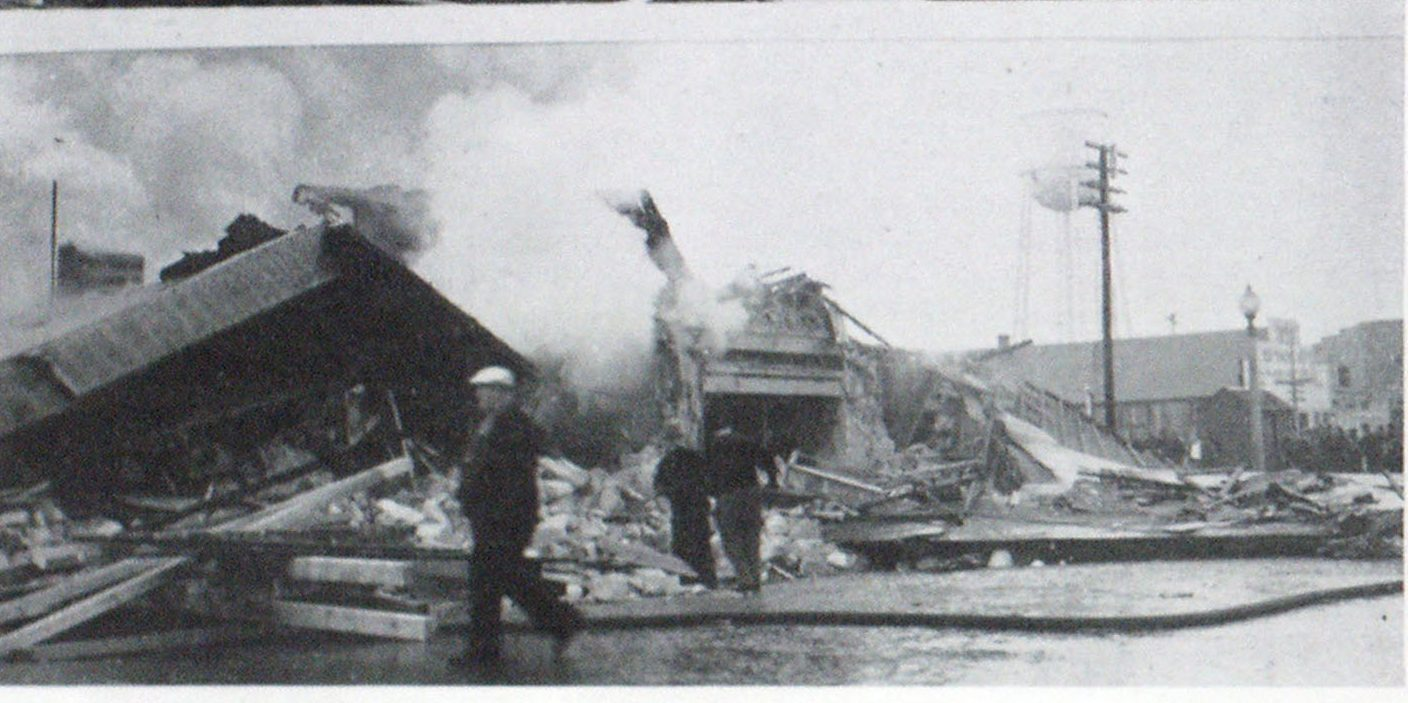 picture shows the extent to which the building was damaged by the blast.