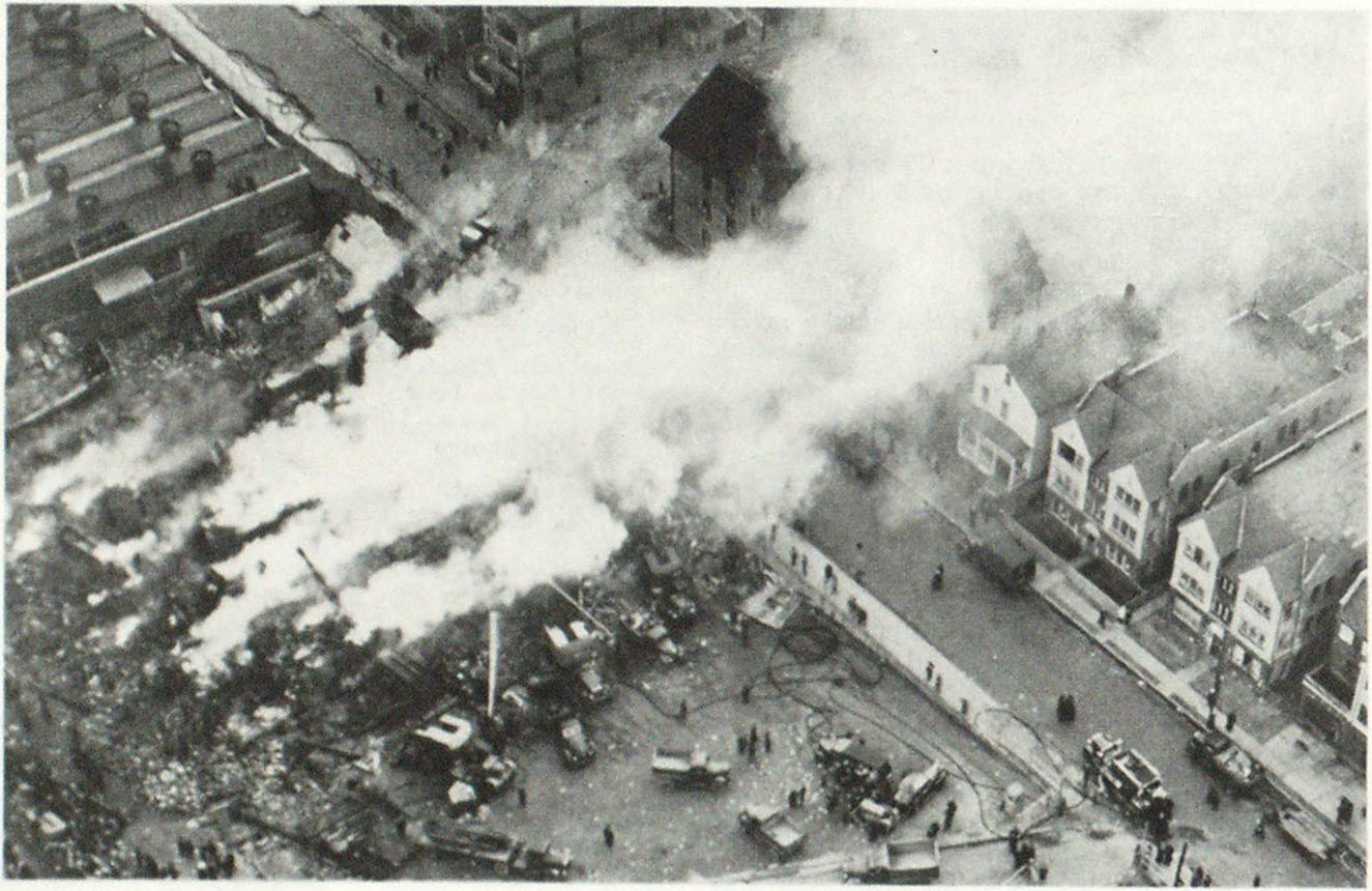 Aerial View of Fire in Which Seven Persons Were Killed and Eighty Injured