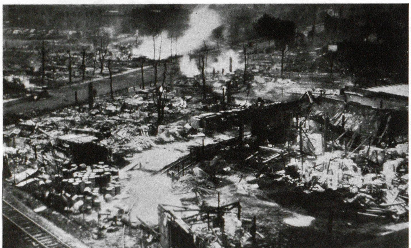 Partial View of Area Devastated in Clevelend's East Ohio Ges Co. Holocaust. Firemen Overhauling Ruins and Extinguishing Smouldering Fires.