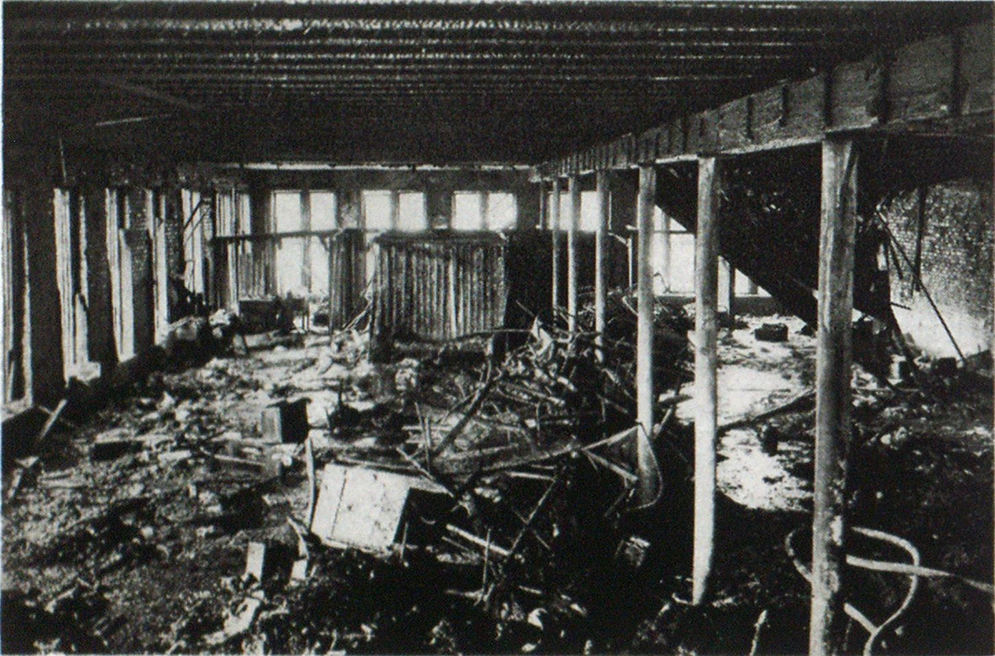 A Floor, after a Fire, before Overhauling Operations. Debris Is Moved Toward Walls when Overhauling.