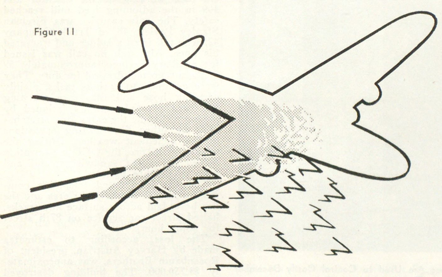 Figure 11 It must not be inferred from the foregoing illustrations that all fires must be attacked through the center. How to use the fog streams or fog front to sweep burning fuel from a fuselage, and protect the occupants is shown in Figure 11.