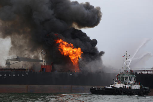 Mexican Navy Rescues Crew from Burning Tanker