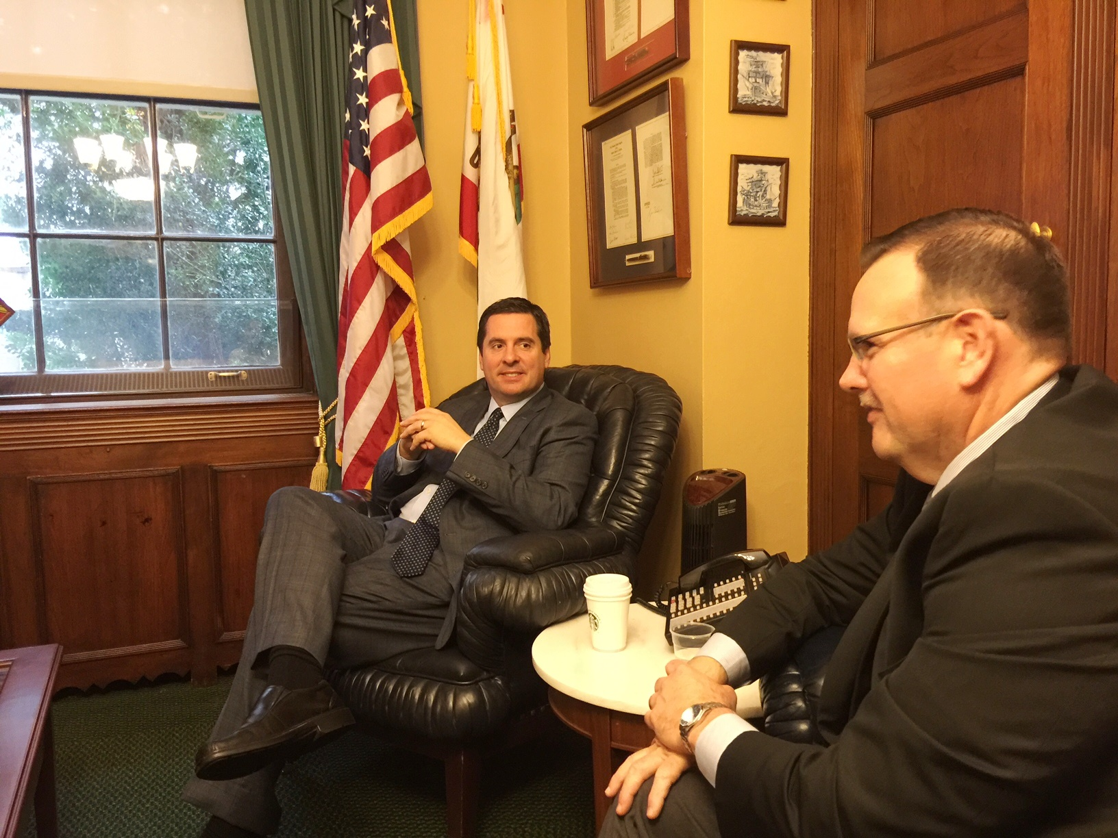 Representative Devin Nunes meets with Paul Main of American Ambulance of Visalia during the Stars of Life visit to Capitol Hill.