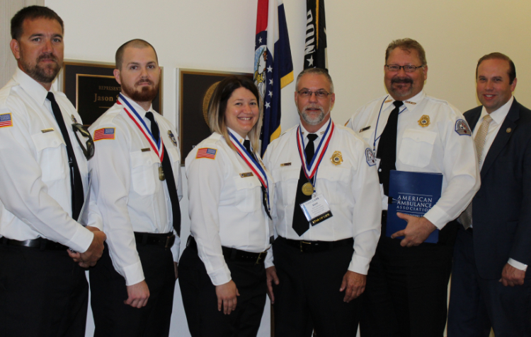 Darick Day and R. Buesking and Darick Day (Madison County Ambulance District) and Renee McClure Kent Coleman and David Tetrault (St. Francois County Ambulance District) met with U.S. Representative Rep. Jason Smith of Missouri.