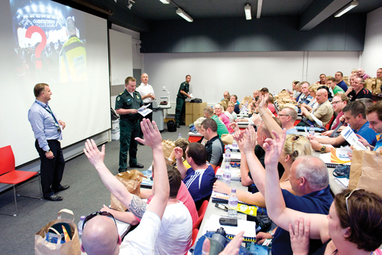 EMS held a pre-planned air arrival briefing at Goldsmiths College in London.