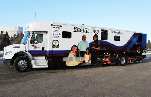 Staffed with paramedics and nurse practitioners, the mobile health bus offers free clinic services throughout the city of Saskatoon, Canada. Photo courtesy Crestline Coach Ltd.