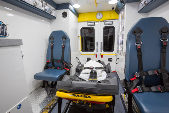 Allina redesigned the back of their ambulance with both patient care and crew safety in mind. Note the adjustable seats on both sides of the stretcher.