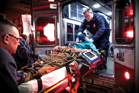 Load and go transport to a trauma center should be considered if penetrating trauma is the etiology and providers are in close proximity to a trauma center. Photo courtesy Dave Rynders
