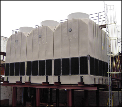 Plastic cooling towers can be an economical choice when operations and maintenance costs are considered. Photo courtesy Delta Cooling Towers.