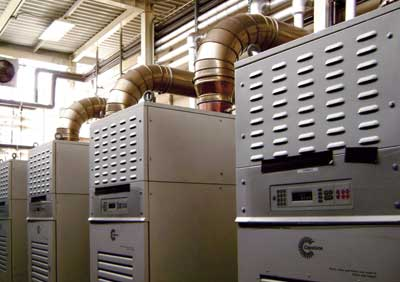 Six Capstone C65 MicroTurbines were installed at this manufacturing facility for plastic packaging products. The microturbines are saving the manufacturer $35,000 a month. Photo Courtesy Capstone Turbine Corp.