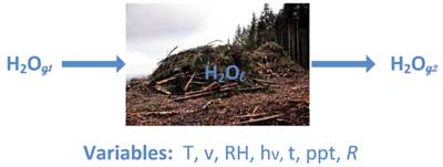 Drying of a wood residue pile by equilibration with bulk air. Variables include tempearture, wind velocity, relative humidity, insolation, time, precipitation and pile pore space.