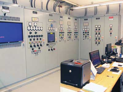 One of two Russelectric panel boards in the control room at Haley Hospital's power plant. The boards include a custom Russelectric SCADA system that allows remote monitoring and control of all aspects of the hospital's power system. Photo courtesy of Russelectric