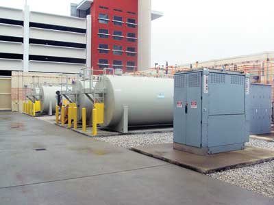Haley Hospital has enough fuel for 120 hours of backup power if utility feeds are lost. The 2-MW load bank facilitates the testing of generators. Photo courtesy of Russelectric