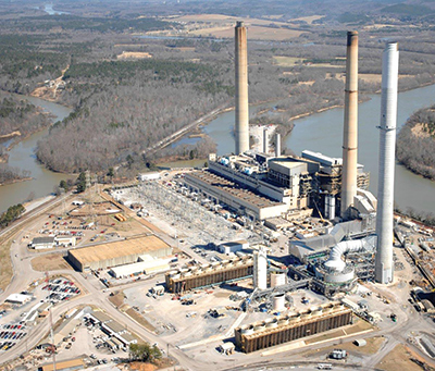 Four coal-fired units at the Ernest C. Gaston Electric Generating Plant near Wilsonville, Alabama, were recently converted to burn natural gas. Photo courtesy: Alabama Power